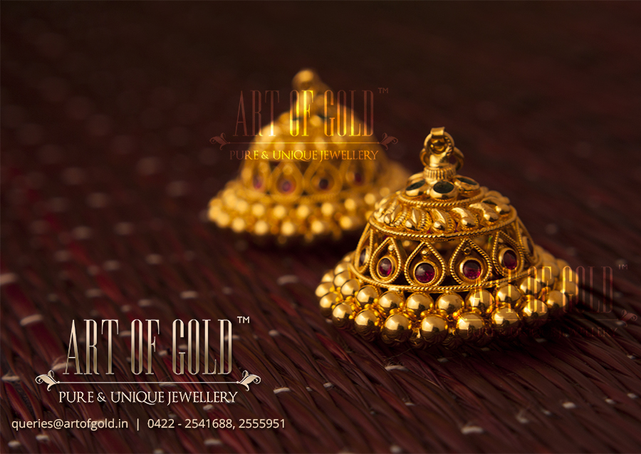 Antique Jhumkas | Art of Gold Jewellery, Coimbatore