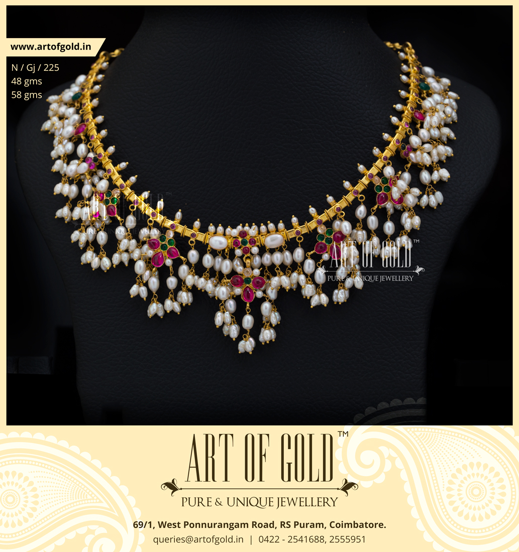 Light Weight Guttapusalu Necklace | Art of Gold Jewellery, Coimbatore