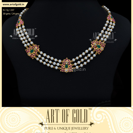 Pearl Necklace with Gold Motiffs