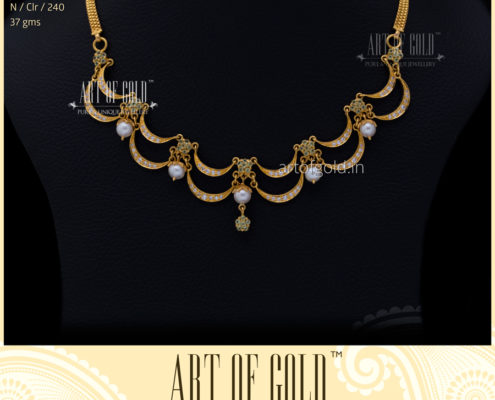Designer Peridot & Pearl Necklace