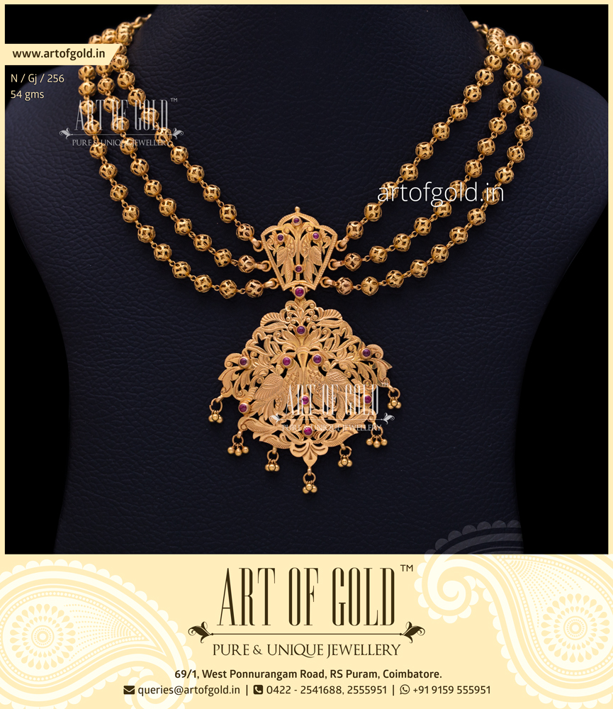 Fusion Antique Bridal Necklace | Art of Gold Jewellery, Coimbatore