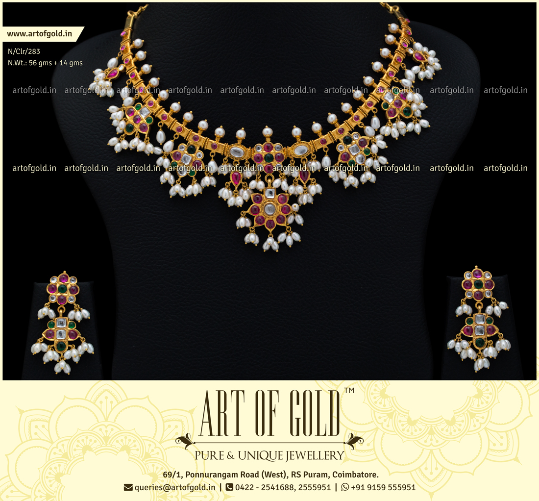 90d20923a2ddc Light Weight Guttapusalu Necklace | Art of Gold Jewellery, Coimbatore