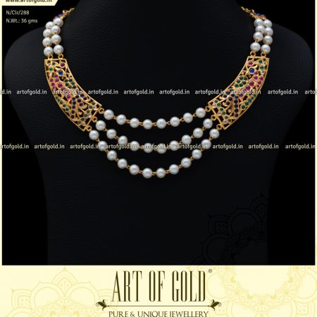 Pearl Necklace with Gold Motifs