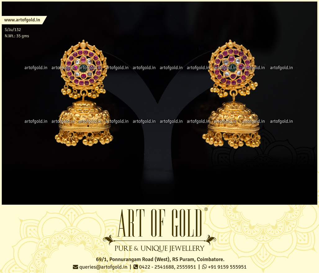 Nakshi Jhumkas with Antique Kemp Studs