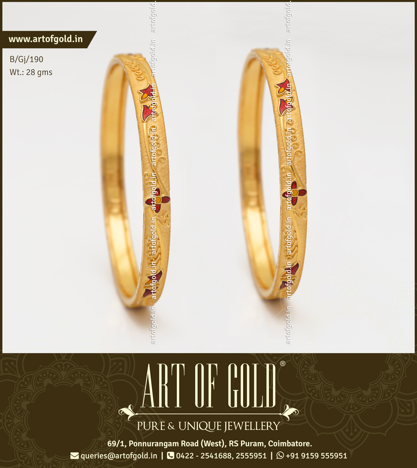 Gold Daily Use Bangle with Enamel