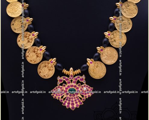 Kasu mala with beads (black)
