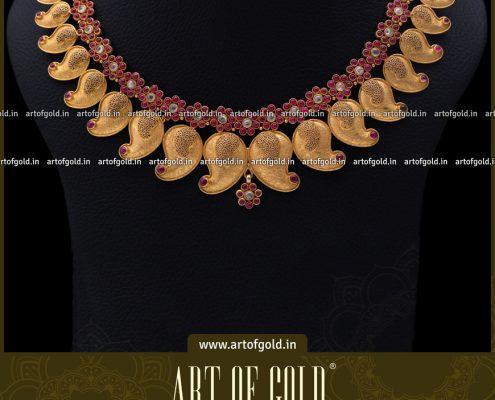 Plain Gold Bridal Mango Necklace