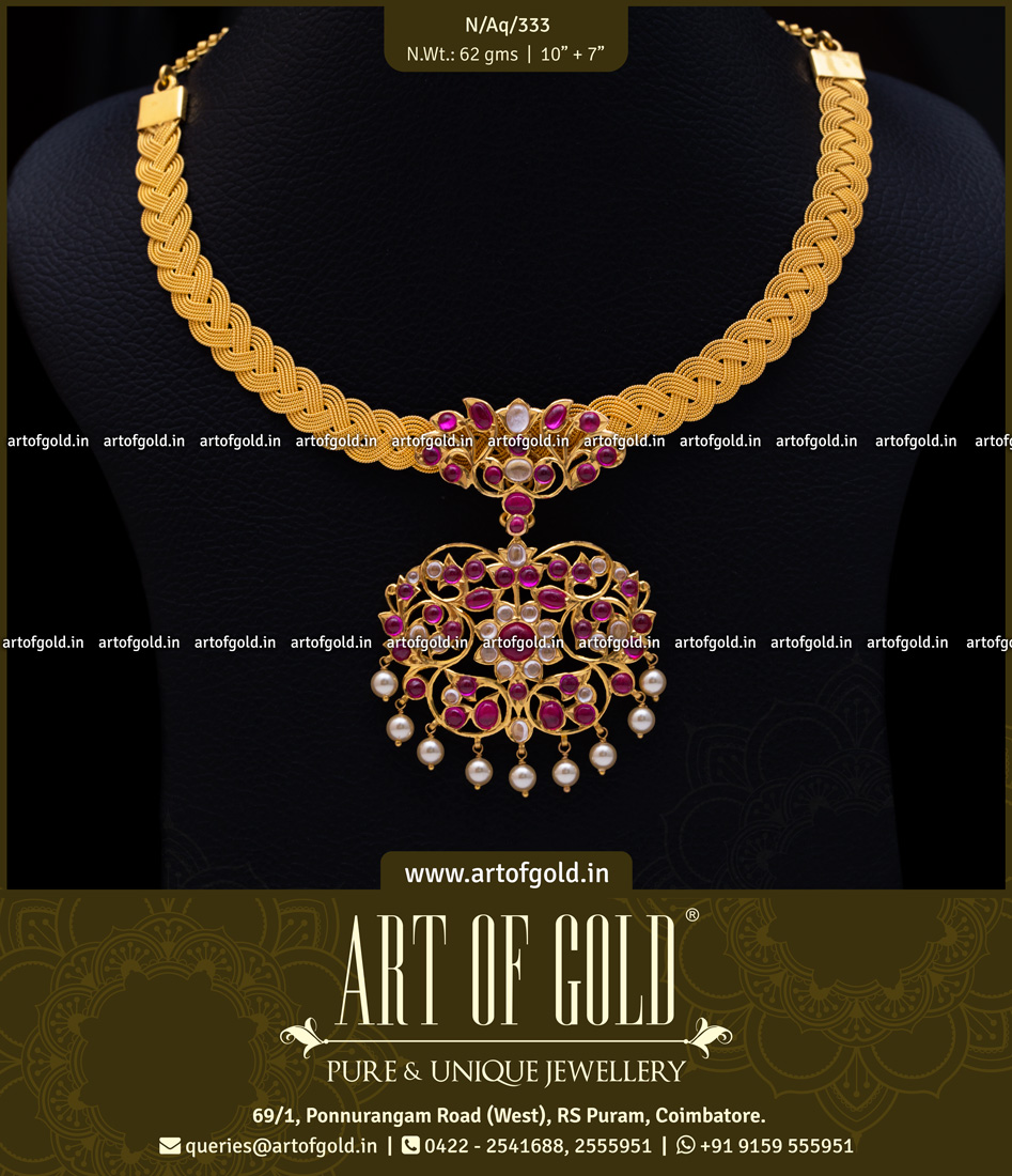 Gold Mesh Necklace with Kemp & Kundan pendant
