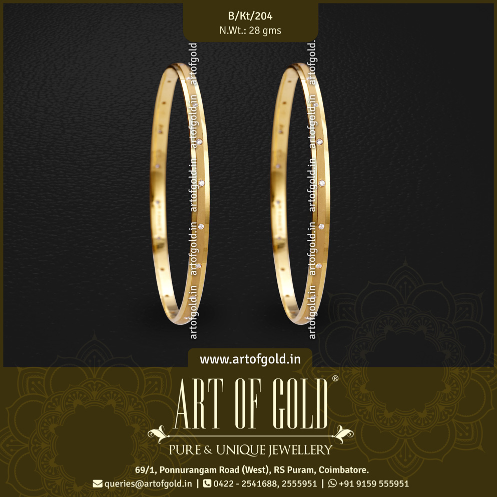 Office Use Gold Bangle - Matt & Glossy, Swarovski Pattern