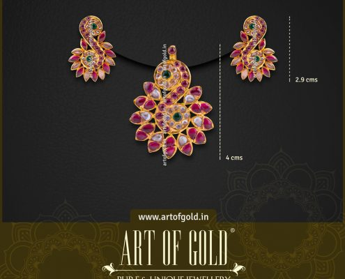 Gold Pendant Studs Set - Antique kemp & kundan