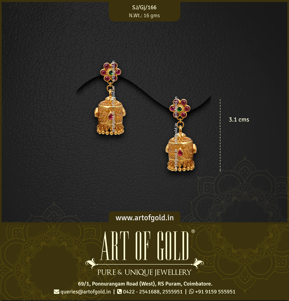 Light Weight Antique Jhumkas - Cylindrical Pattern