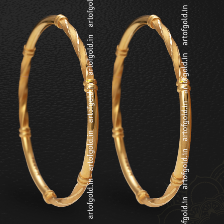 Gold Daily Use Bangle - Twisted & Plain Pattern