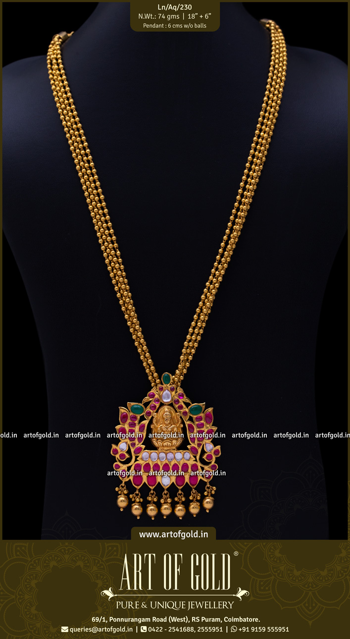Lakshmi Pendant with Gold Balls Haram