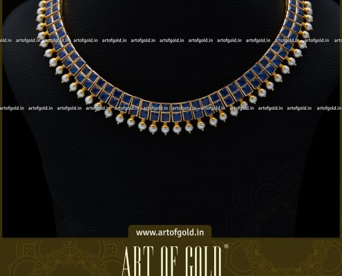 Gold Necklace with Blue Stones