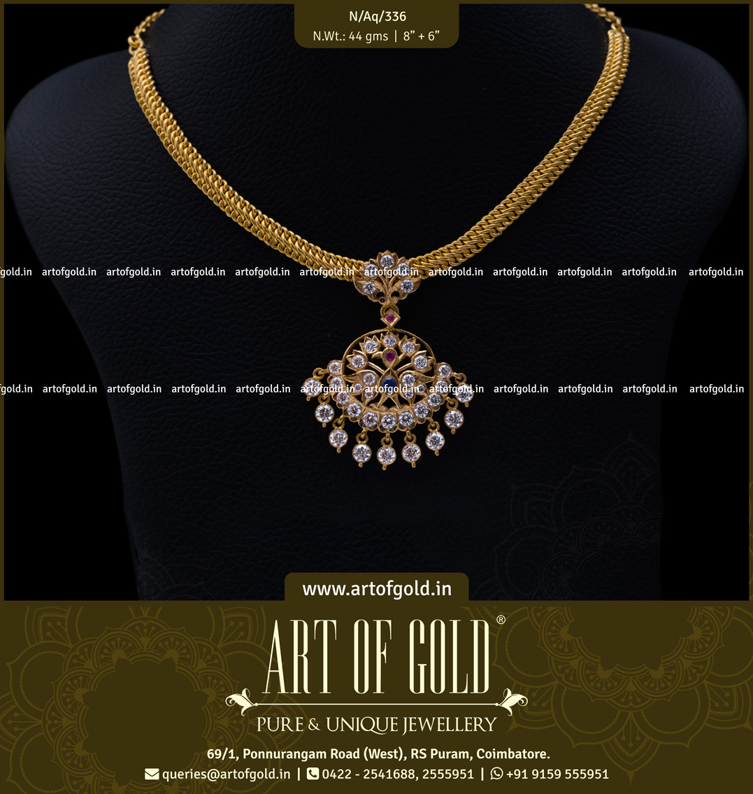 Gold Attigai & White Stone Pendant