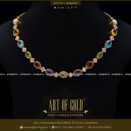 Color Stone Gold Neckalces