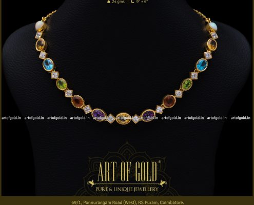 Color Stone Gold Neckalces