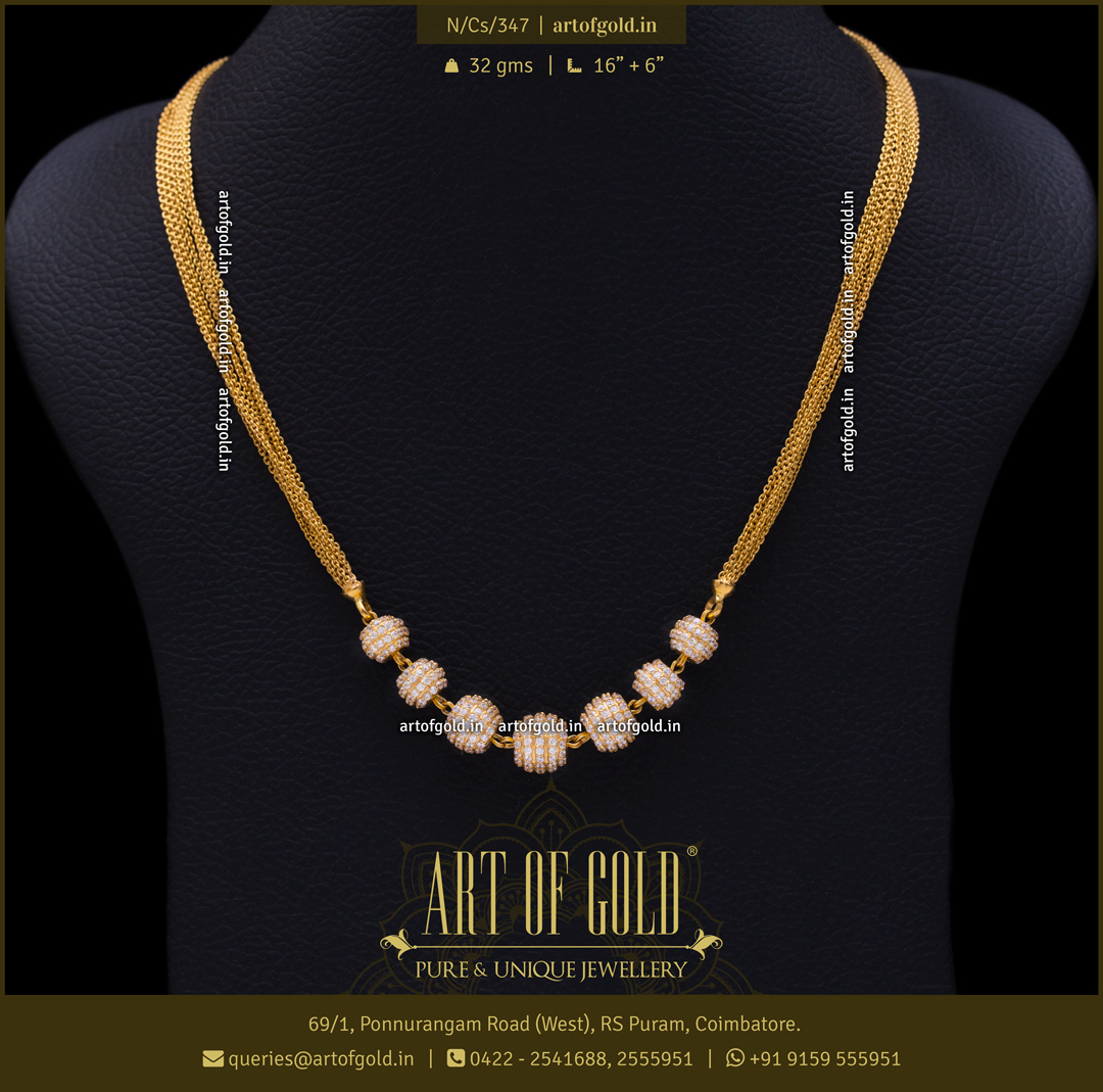 Gold party wear Necklace with CZ Balls Pendant