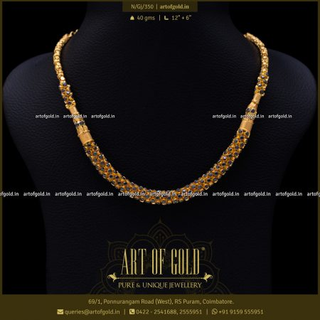 Gold Necklace with Black Stones