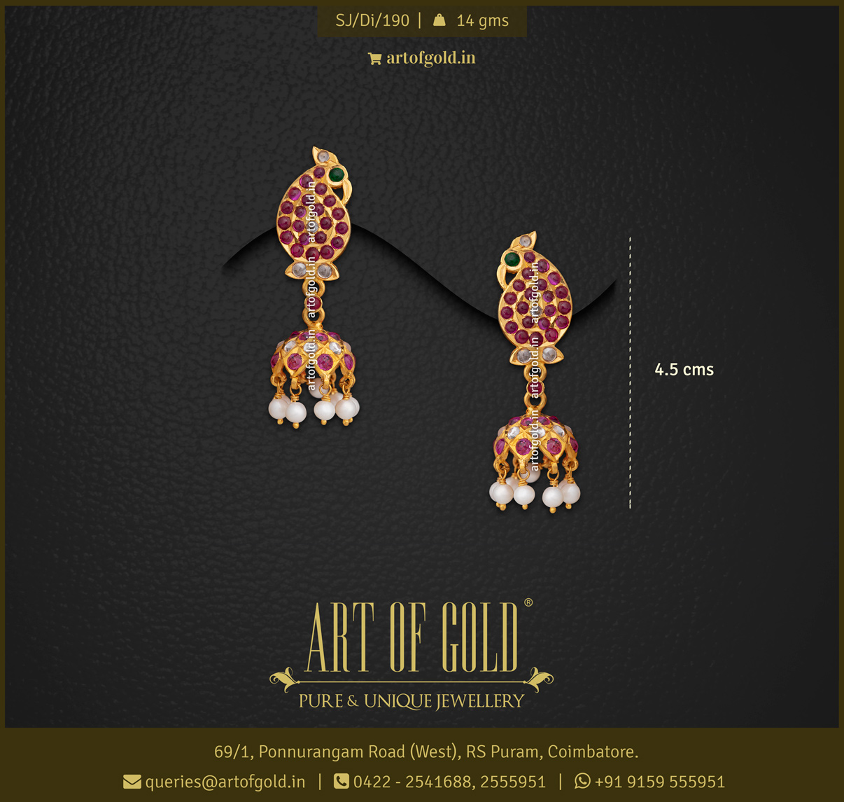 Antique Gold Jhumka - Red Stone (Kemp)