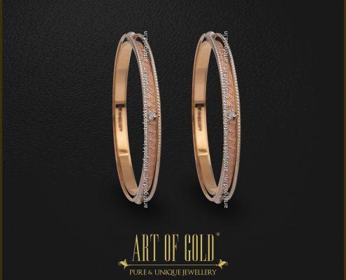 Two-tone Gold designer Bangle