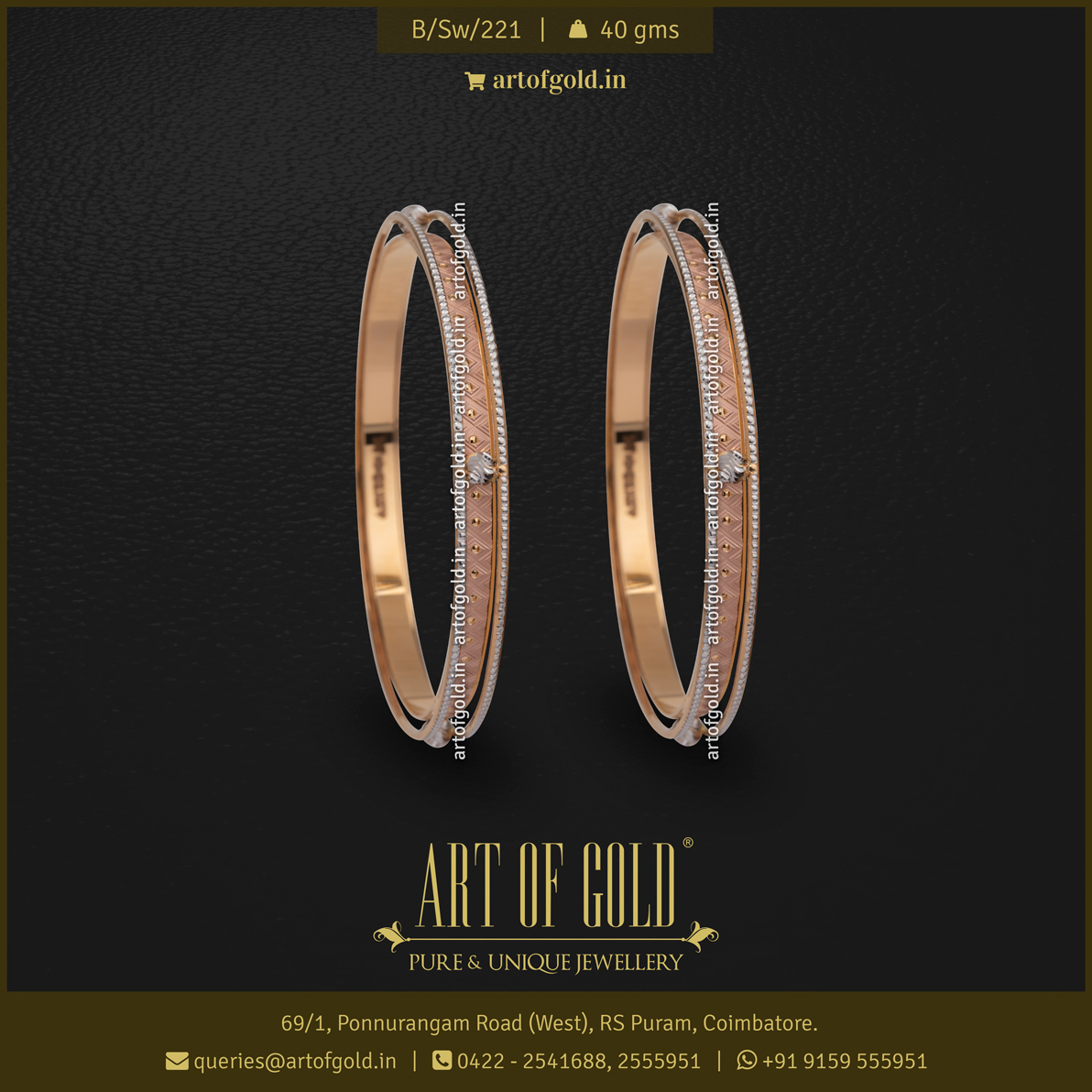 Two-tone Gold designer Bangle