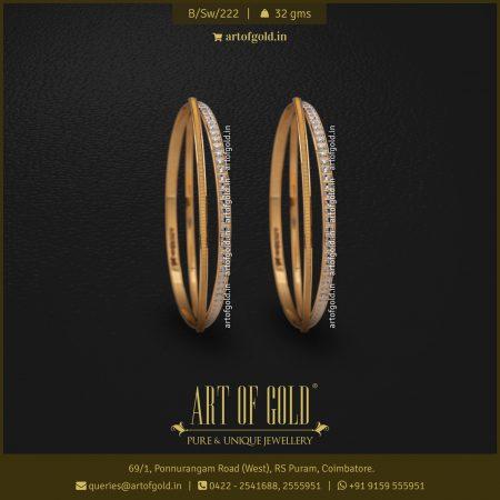 Designer Gold Bangle - Crisscross Pattern