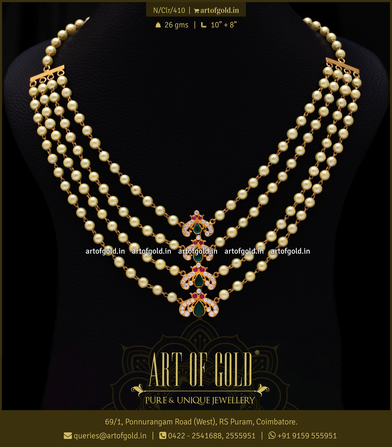 Pearl Gold Necklace Indian Design Art Of Gold Jewellery Coimbatore