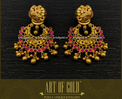 Gold Chandbali earrings - Nakshi