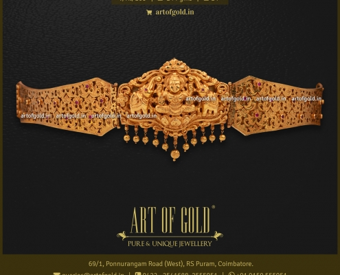 Gold Vaddanam / Oddiyanam - Cut work pattern