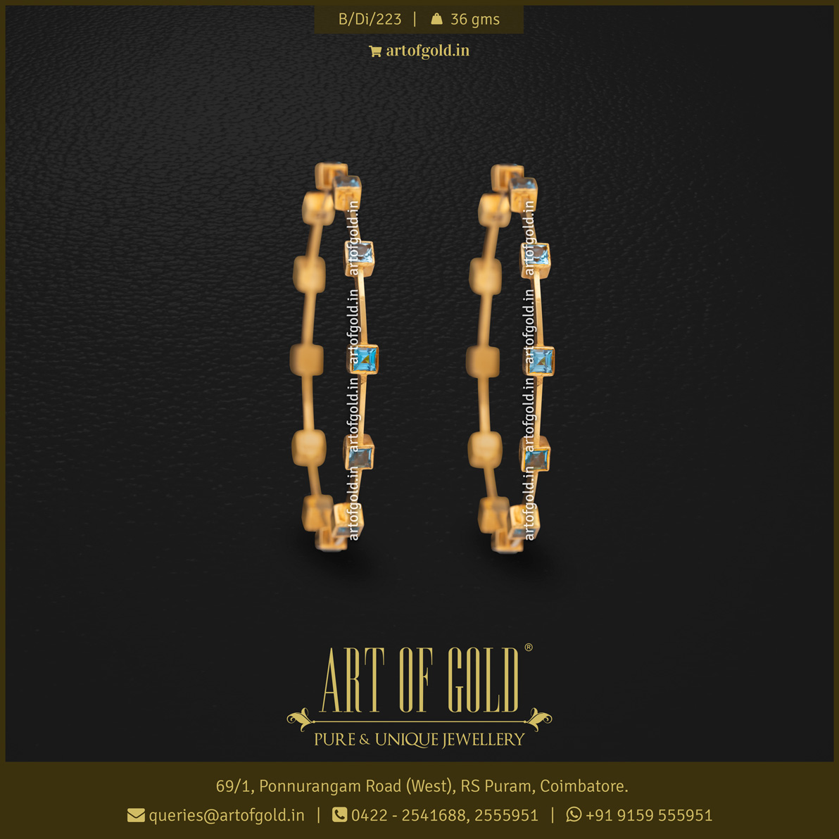 Sleek Gold Bangle - Blue Topaz