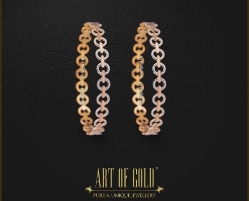 White Gold & Rose Gold bangle - Circle pattern
