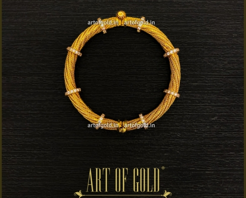 Gold Designer Bangle - Mesh pattern