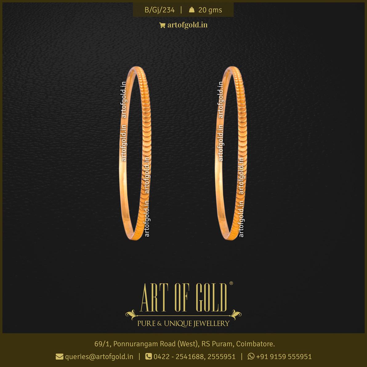 Plain Gold Bangle - small kasu pattern