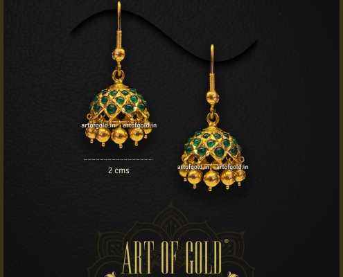 Emerald Jhumkas in Gold