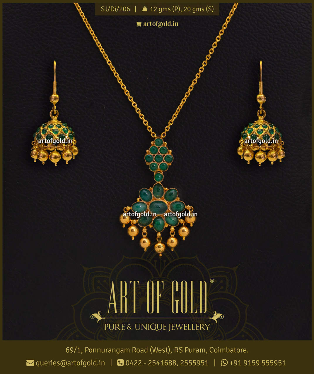 Emerald Pendant set in Gold