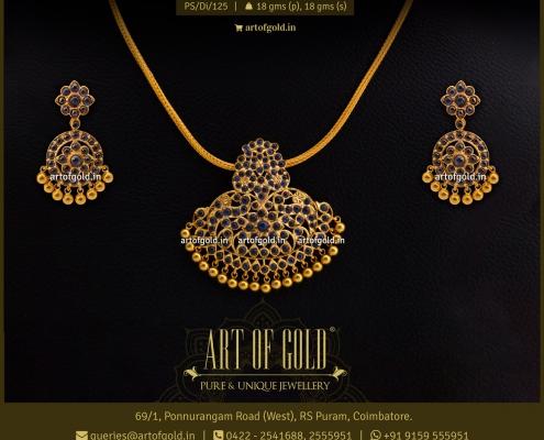 Blue Sapphire Gold Pendant Set