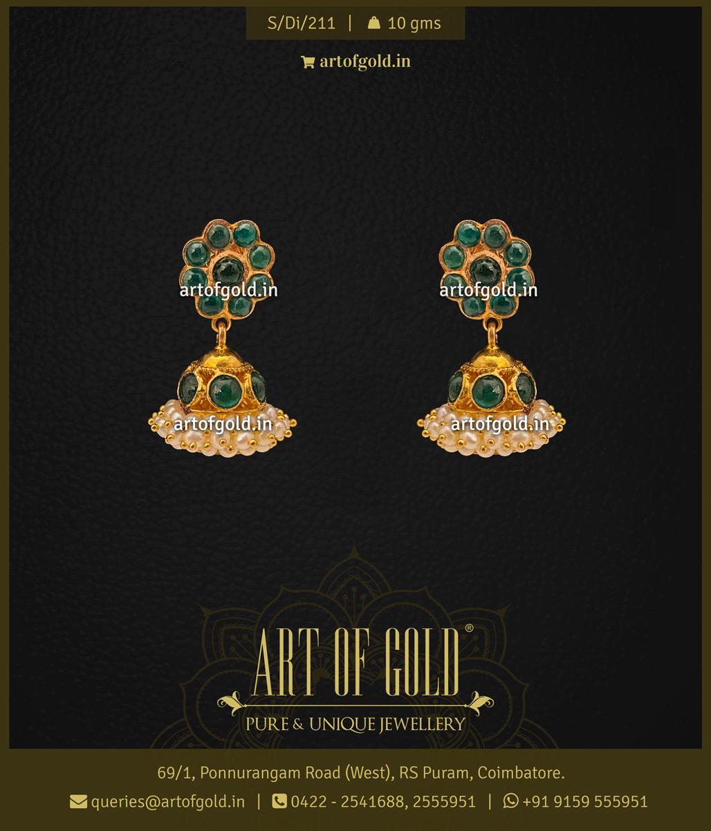 Gold Emerald & Pearl Earrings