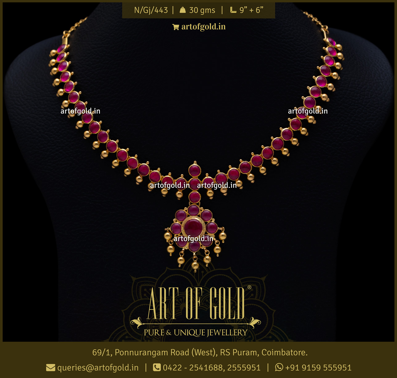 Red Stone Necklace - Gold Addige