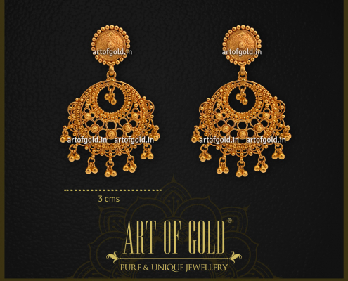Light weight Gold Chandbali earrings