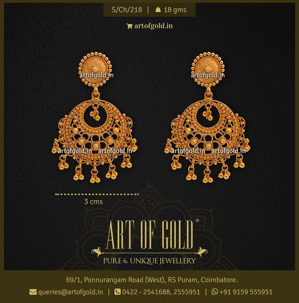 Light weight Gold Chandbali earrings