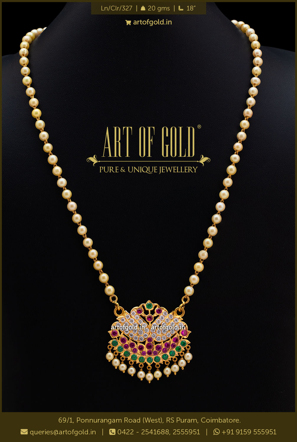 Pearl Necklace with Gold Pendant
