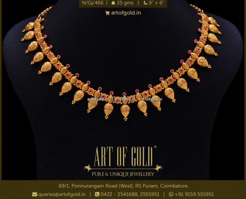 Light Weight Gold Necklace - Thilakam Pattern